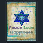"""Peace Love Happiness Postcard<br><div class=""""desc"""">Hearts,  Star of David,  and the words """"Peace Love Happiness"""" are a lovely way to say Happy Hanukkah.</div>"""