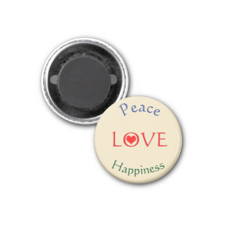 Peace Love Happiness Round Magnet