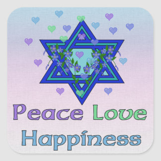 Peace Love Happiness Square Sticker