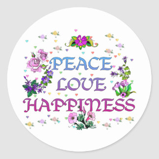 Peace Love Happiness Classic Round Sticker