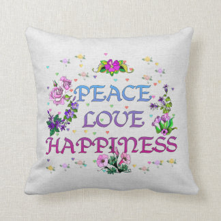Peace Love Happiness Throw Pillow