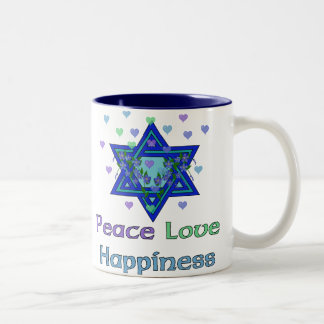 Peace Love Happiness Two-Tone Coffee Mug