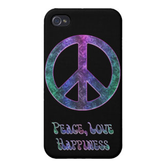 Peace Love Happiness Vintage Peace Sign  Cover For iPhone 4