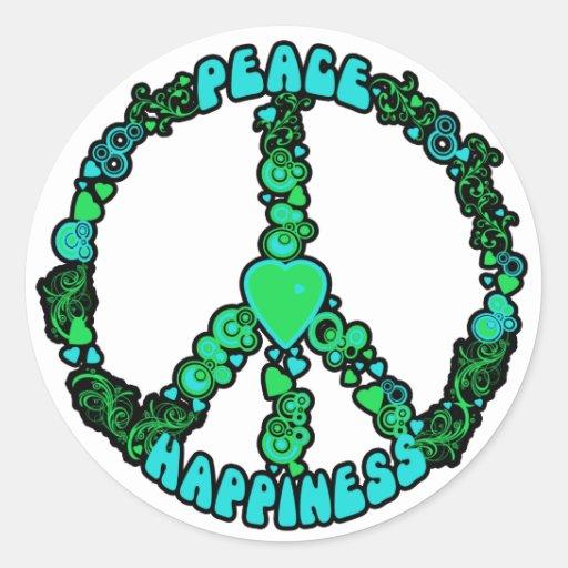 Peace Love Happy Classic Round Sticker