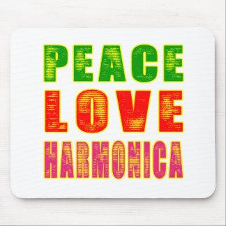 Peace Love Harmonica Mouse Pad