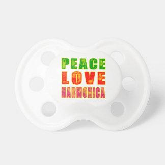 Peace Love Harmonica Baby Pacifier