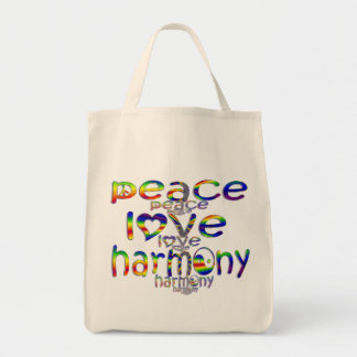 Peace Love Harmony Grocery Tote Bag