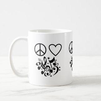 Peace Love Harmony Red Heart Black Musical Notes Coffee Mug