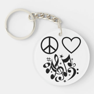 Peace Love Harmony Red Heart Black Musical Notes Double-Sided Round Acrylic Keychain