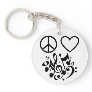 Peace Love Harmony Red Heart Black Musical Notes Keychain