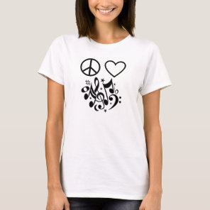 Peace Love Harmony Red Heart Black Musical Notes T-Shirt