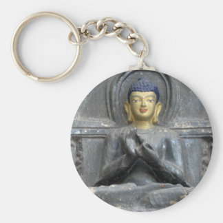Peace Love Harmony with Buddha Basic Round Button Keychain