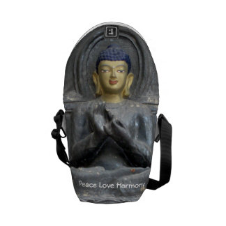 Peace Love Harmony with Buddha Messenger Bags