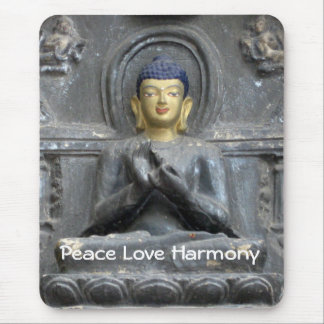 Peace Love Harmony with Buddha Mouse Pad