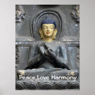 Peace Love Harmony with Buddha Posters