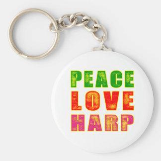 Peace Love Harp Keychain