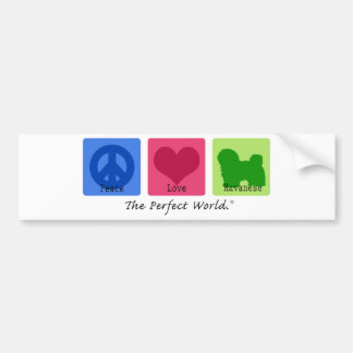 Peace Love Havanese Car Bumper Sticker