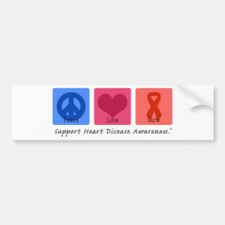 Peace Love Heart Disease Car Bumper Sticker