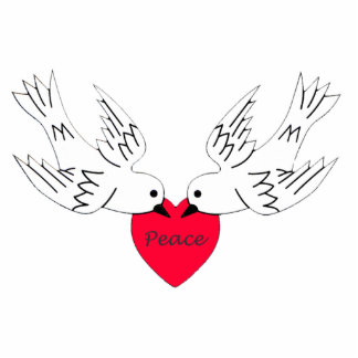 Peace Love Heart Doves Statuette