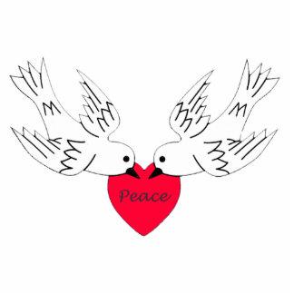 Peace Love Heart Doves Statuette