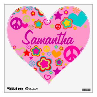 Peace & Love Heart Wall Decal