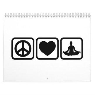 Peace love heart Yoga Calendar