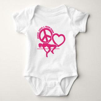 PEACE-LOVE-HIGH JUMP BABY BODYSUIT