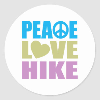 Peace Love Hike Round Stickers