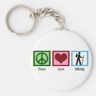 Peace Love Hiking Basic Round Button Keychain