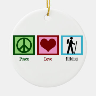 Peace Love Hiking Double-Sided Ceramic Round Christmas Ornament