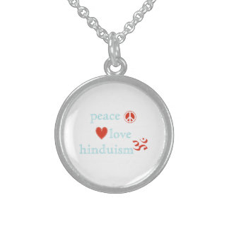 Peace Love Hinduism Sterling Silver Necklace