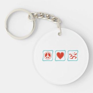 Peace Love Hinduism Squares Keychain