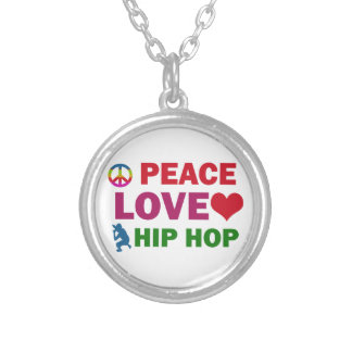 Peace Love Hip HOP Silver Plated Necklace