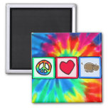 Peace, Love, Hippos 2 Inch Square Magnet