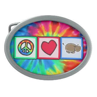 Peace, Love, Hippos Belt Buckles