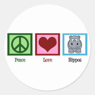 Peace Love Hippos Classic Round Sticker