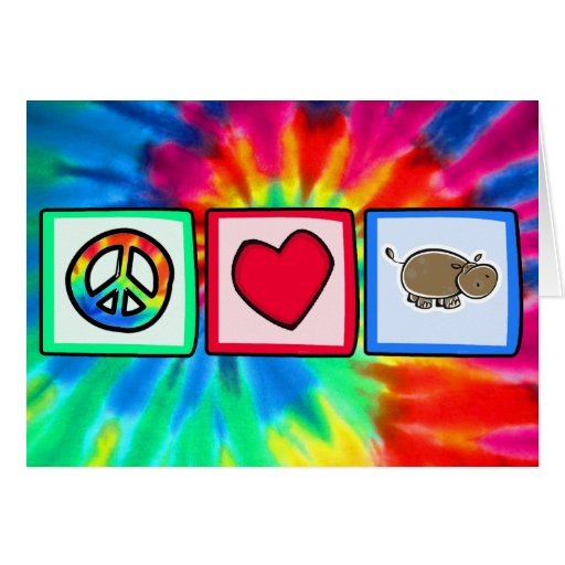 Peace, Love, Hippos Greeting Cards