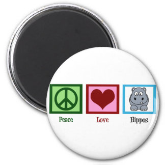 Peace Love Hippos 2 Inch Round Magnet