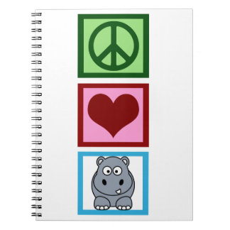 Peace Love Hippos Spiral Note Book