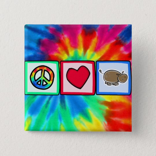 Peace, Love, Hippos Pinback Button