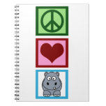 Peace Love Hippos Spiral Note Books