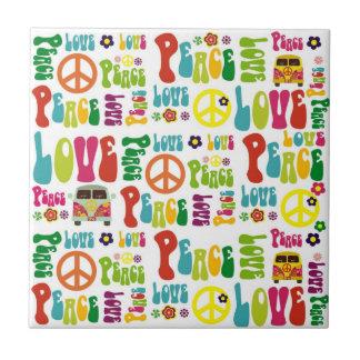 Peace Love Hippy Pattern Tile
