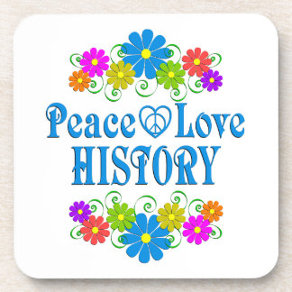 Peace Love History Beverage Coaster