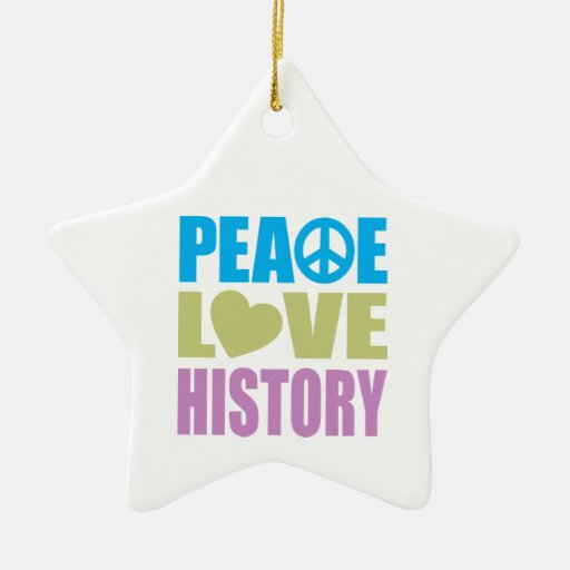 Peace Love History Double-Sided Star Ceramic Christmas Ornament