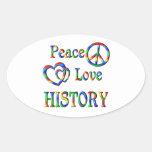 Peace Love HISTORY Oval Sticker