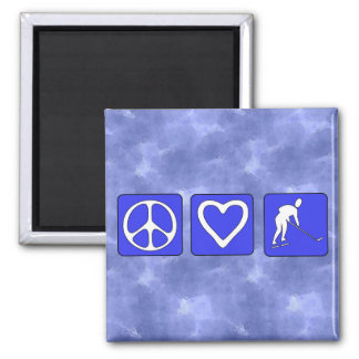 Peace Love Hockey 2 Inch Square Magnet