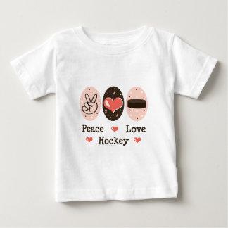 Peace Love Hockey Baby T shirt