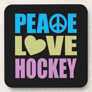 Peace Love Hockey Beverage Coaster