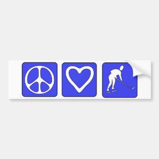 Peace Love Hockey Car Bumper Sticker