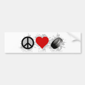 Peace Love Hockey Emblem Bumper Sticker